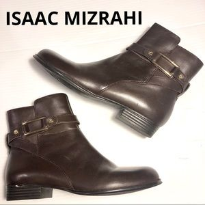 ISAAC MIZRAHI Tinker Brown Leather Booties 6.5